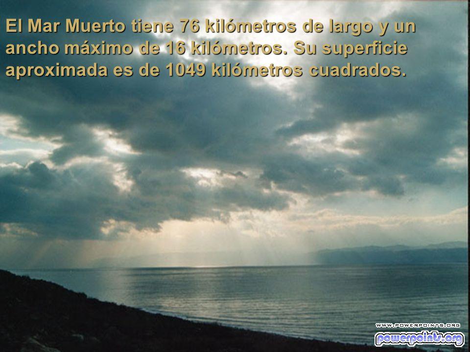 El Mar Muerto tiene 76 kilómetros de largo y un ancho máximo de 16 kilómetros.