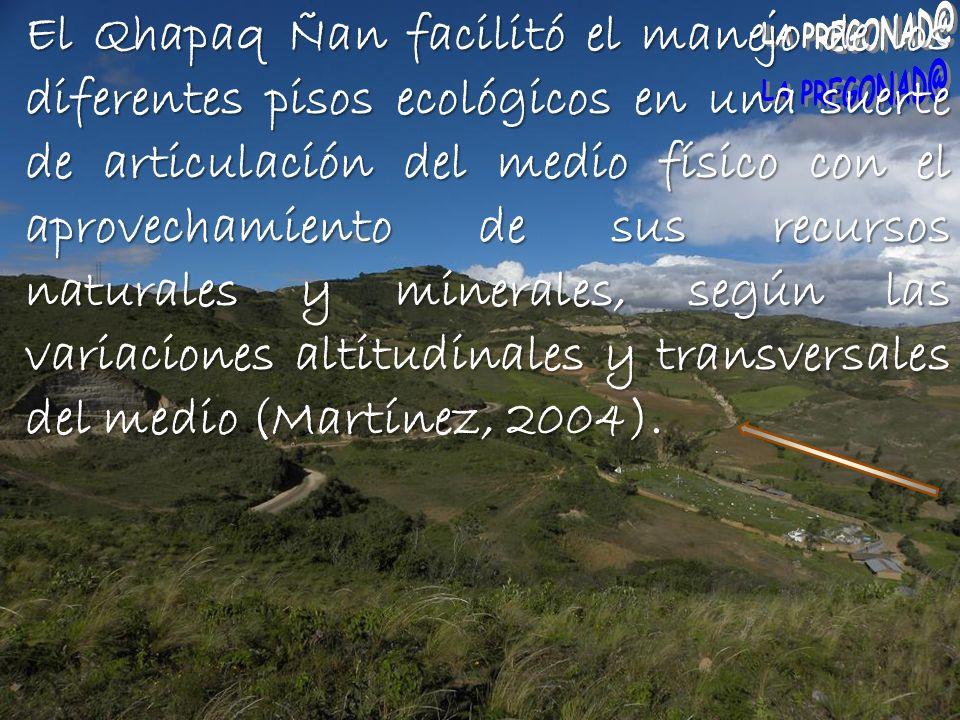 El Qhapaq Ñan facilitó el manejo de los diferentes pisos ecológicos en una suerte de articulación del medio físico con el aprovechamiento de sus recursos naturales y minerales, según las variaciones altitudinales y transversales del medio (Martínez, 2004).