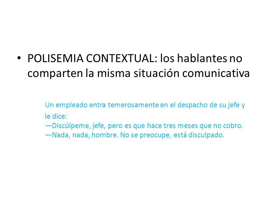 POLISEMIA CONTEXTUAL: los hablantes no comparten la misma situación comunicativa