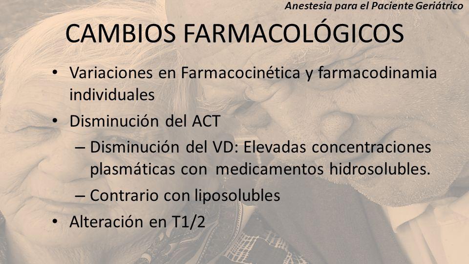 CAMBIOS FARMACOLÓGICOS