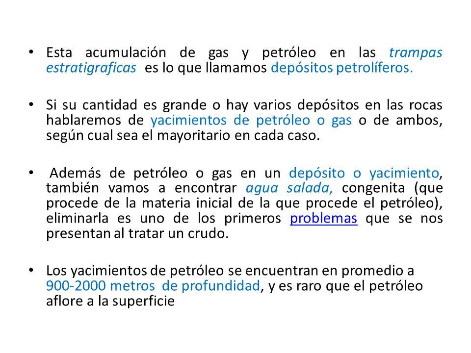 Esta acumulación de gas y petróleo en las trampas estratigraficas es lo que llamamos depósitos petrolíferos.