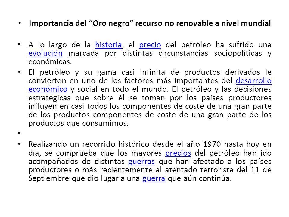 Importancia del Oro negro recurso no renovable a nivel mundial