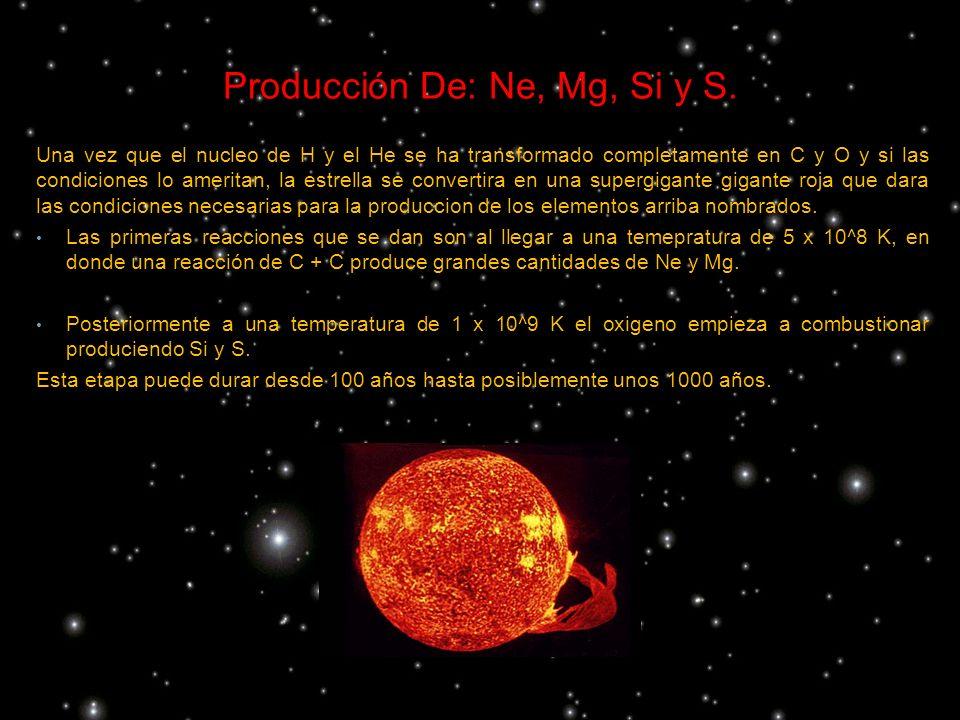 Producción De: Ne, Mg, Si y S.
