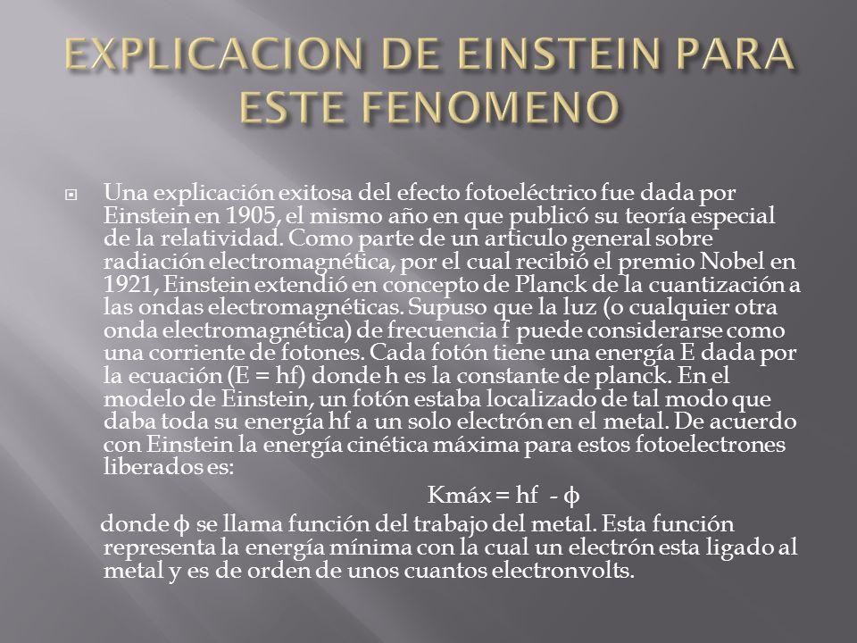 EXPLICACION DE EINSTEIN PARA ESTE FENOMENO