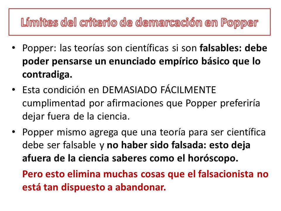 Límites del criterio de demarcación en Popper