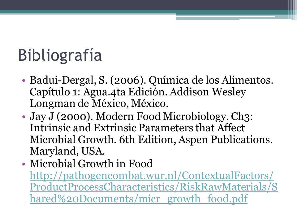 BibliografíaBadui-Dergal, S. (2006). Química de los Alimentos. Capítulo 1: Agua.4ta Edición. Addison Wesley Longman de México, México.