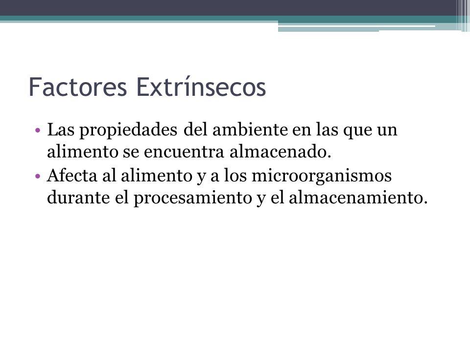 Factores ExtrínsecosLas propiedades del ambiente en las que un alimento se encuentra almacenado.