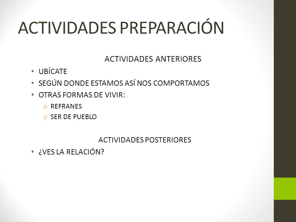 ACTIVIDADES PREPARACIÓN