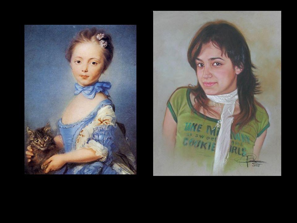 Retrato en pastel sobre papel Canson Niña con un gato de