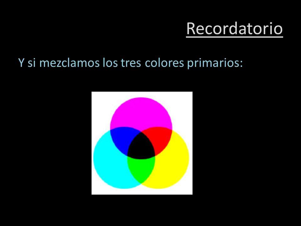 Recordatorio Y si mezclamos los tres colores primarios: