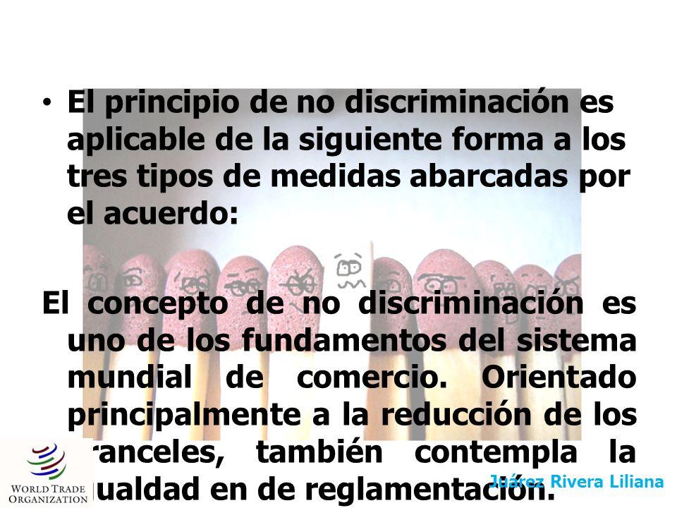 El principio de no discriminación es aplicable de la siguiente forma a los tres tipos de medidas abarcadas por el acuerdo: