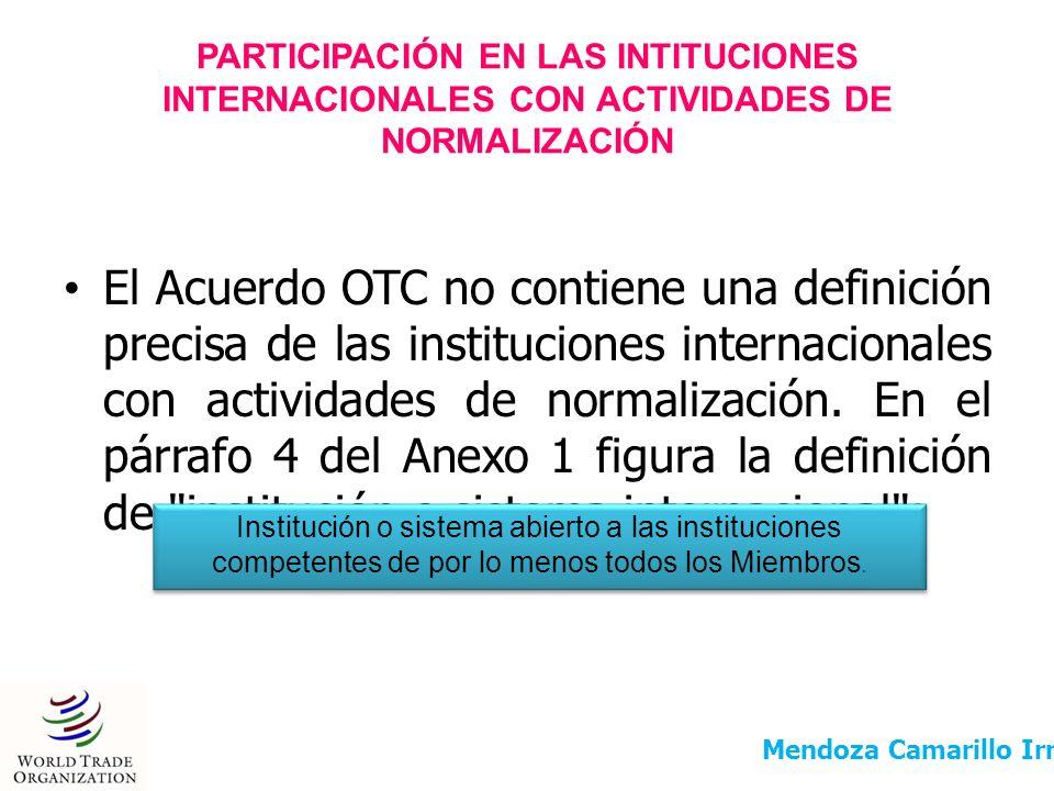PARTICIPACIÓN EN LAS INTITUCIONES INTERNACIONALES CON ACTIVIDADES DE NORMALIZACIÓN