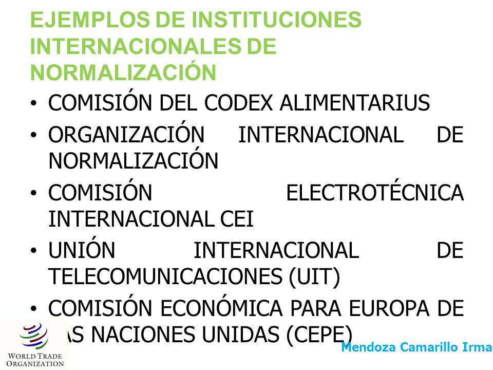 EJEMPLOS DE INSTITUCIONES INTERNACIONALES DE NORMALIZACIÓN
