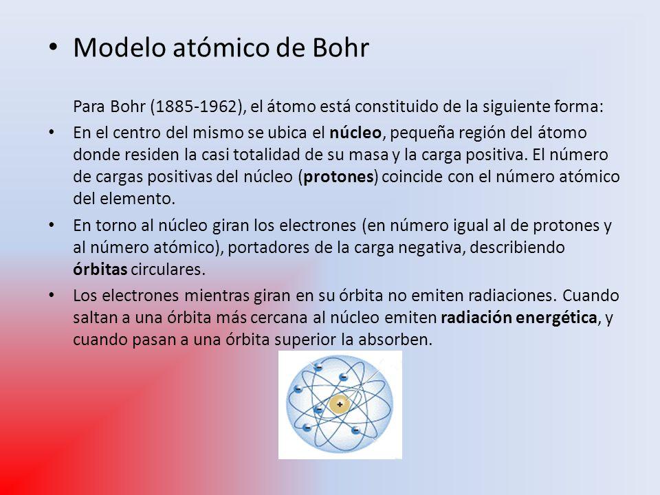 Modelo atómico de Bohr Para Bohr (1885-1962), el átomo está constituido de la siguiente forma: