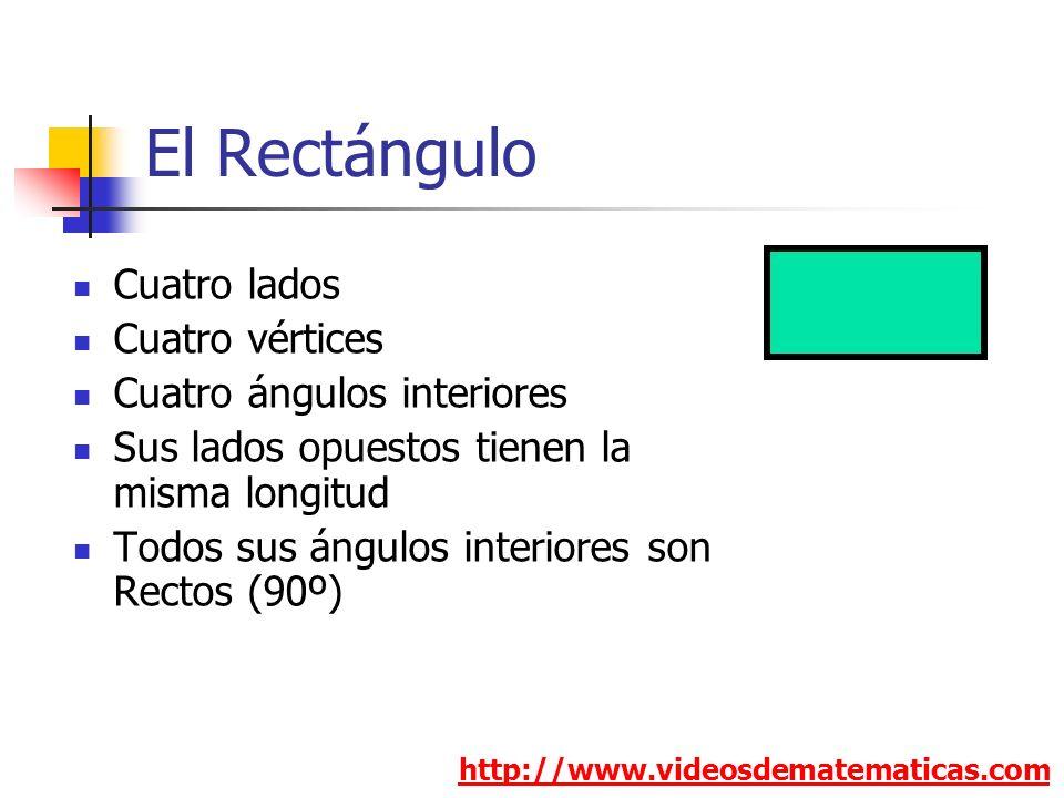 El Rectángulo Cuatro lados Cuatro vértices Cuatro ángulos interiores