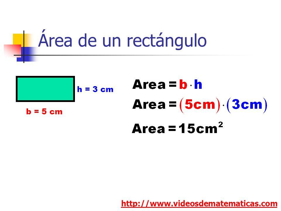 Área de un rectángulo h = 3 cm b = 5 cm