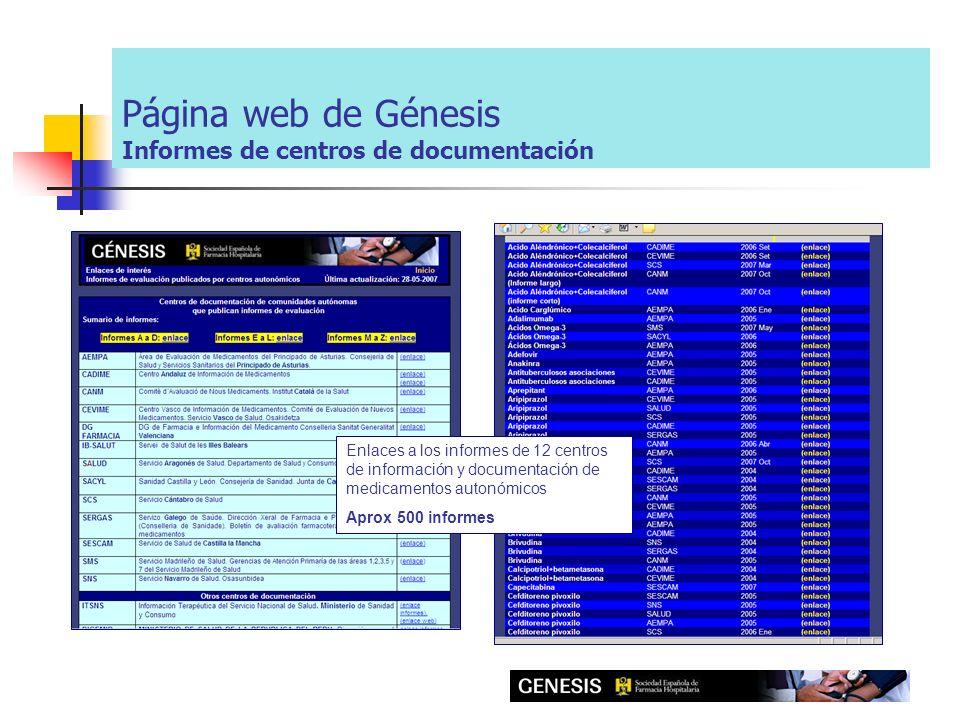 Página web de Génesis Informes de centros de documentación