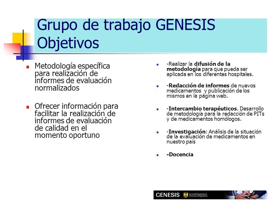 Grupo de trabajo GENESIS Objetivos