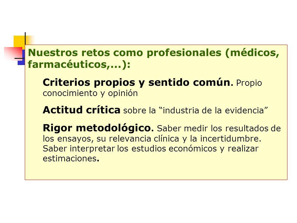 Nuestros retos como profesionales (médicos, farmacéuticos,...):
