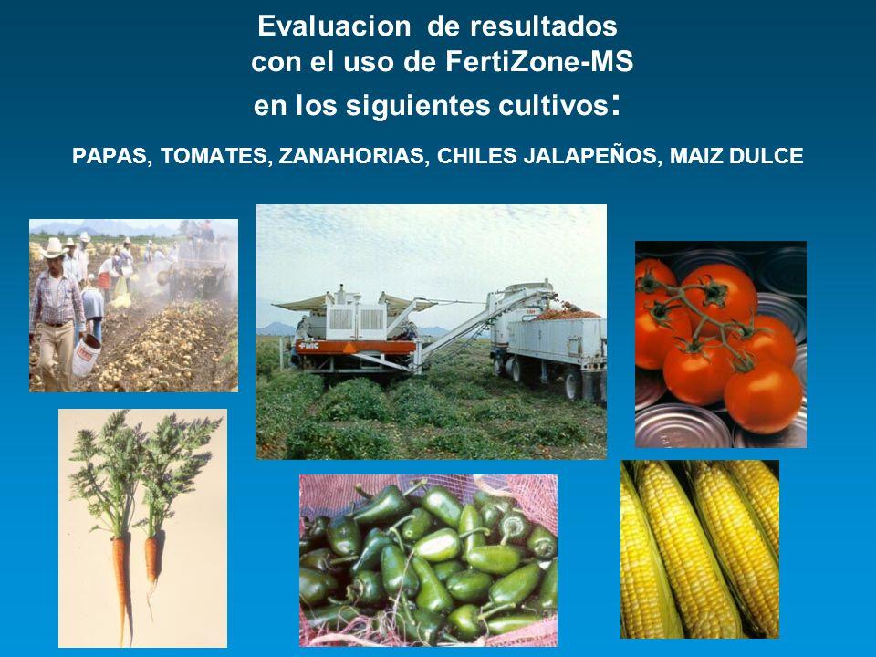 Evaluacion de resultados con el uso de FertiZone-MS en los siguientes cultivos: PAPAS, TOMATES, ZANAHORIAS, CHILES JALAPEÑOS, MAIZ DULCE