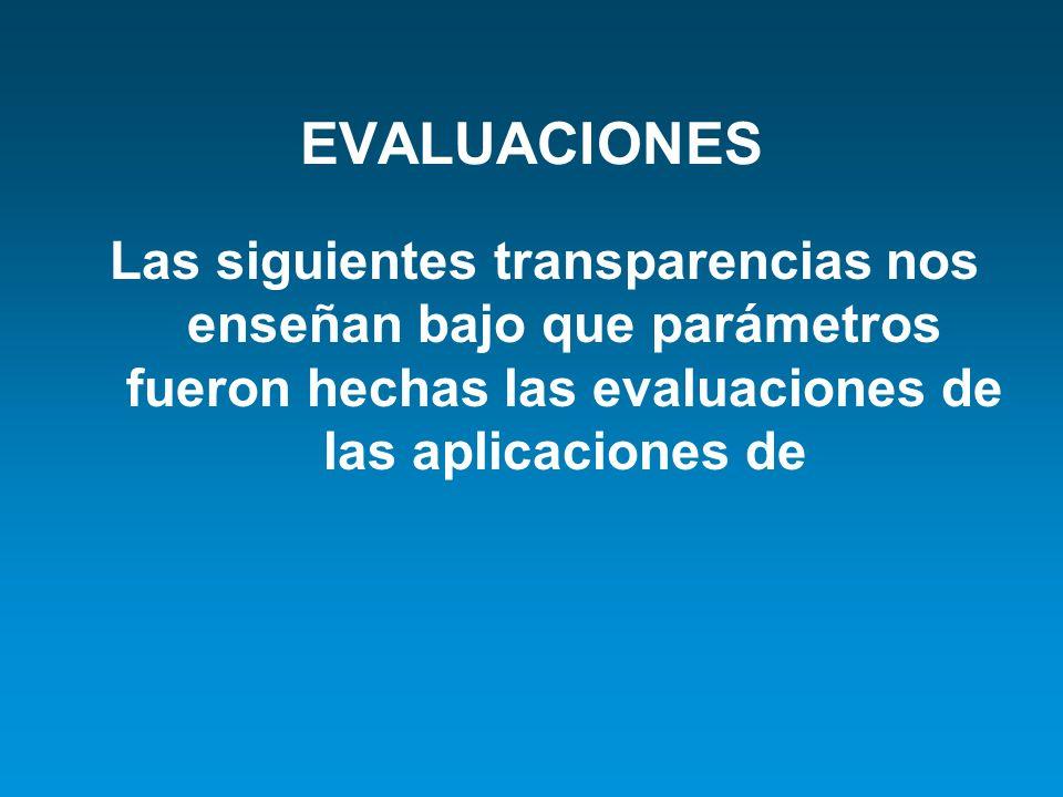 EVALUACIONES Las siguientes transparencias nos enseñan bajo que parámetros fueron hechas las evaluaciones de las aplicaciones de.