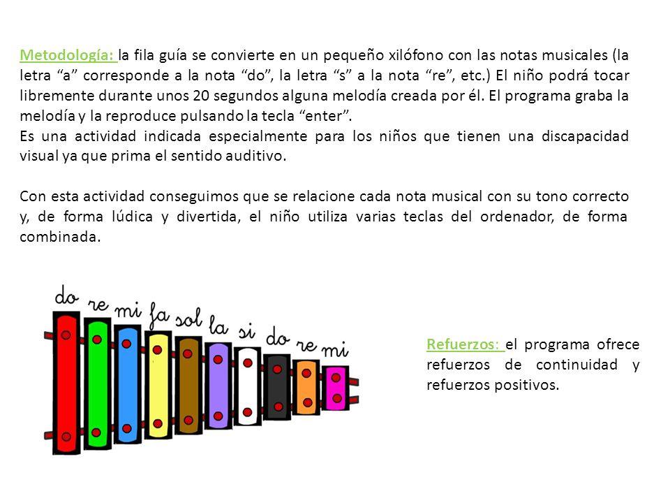 Metodología: la fila guía se convierte en un pequeño xilófono con las notas musicales (la letra a corresponde a la nota do , la letra s a la nota re , etc.) El niño podrá tocar libremente durante unos 20 segundos alguna melodía creada por él. El programa graba la melodía y la reproduce pulsando la tecla enter .