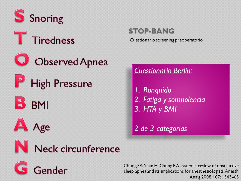 S Snoring T Tiredness O Observed Apnea P High Pressure B BMI A Age