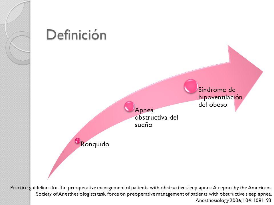 Definición Ronquido. Apnea obstructiva del sueño. Síndrome de hipoventilación del obeso.