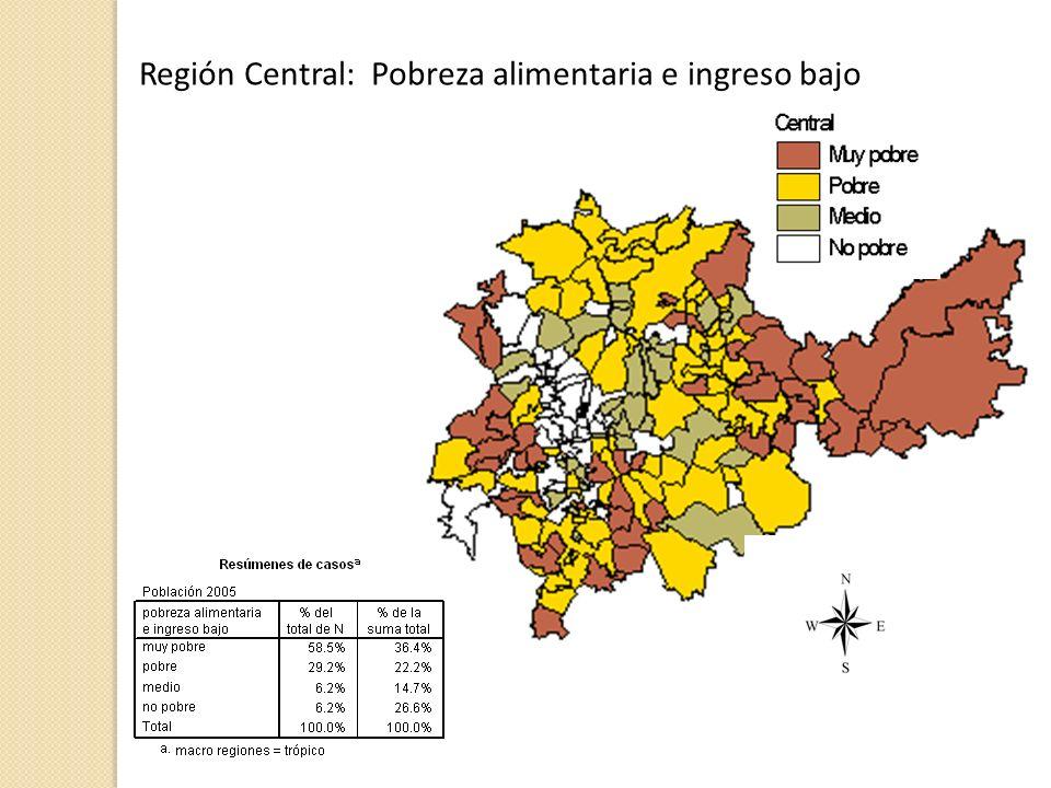 Región Central: Pobreza alimentaria e ingreso bajo