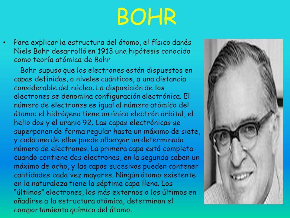 BOHR Para explicar la estructura del átomo, el físico danés Niels Bohr desarrolló en 1913 una hipótesis conocida como teoría atómica de Bohr.