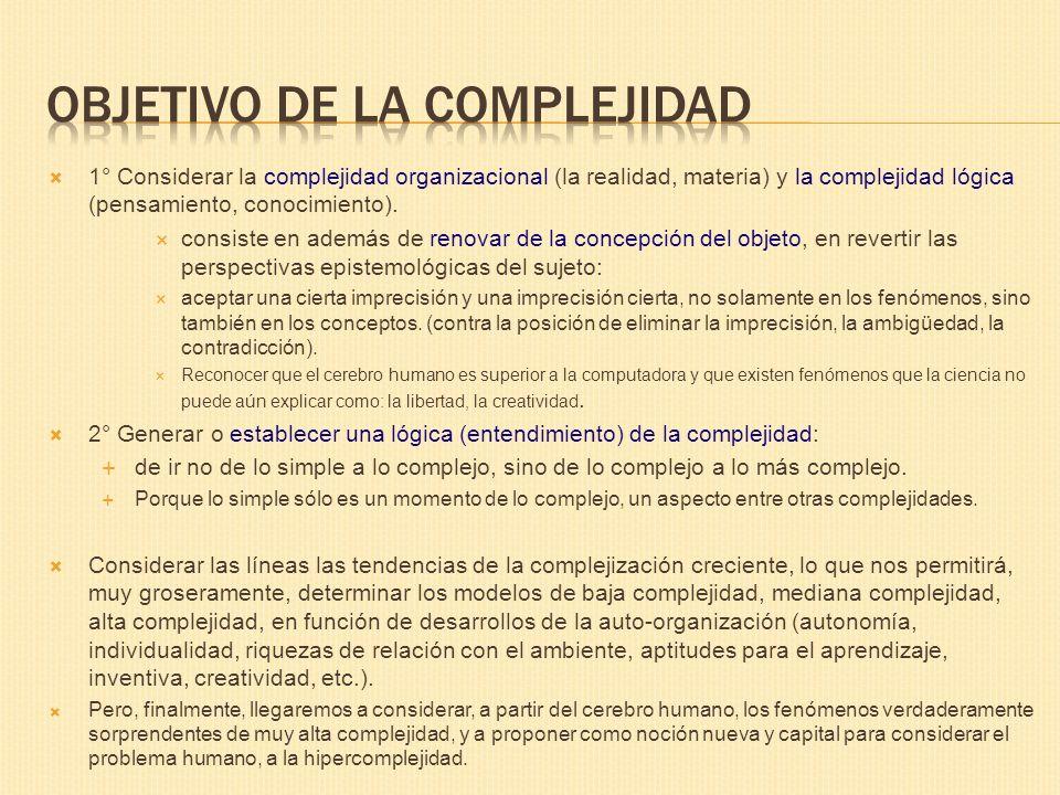 OBJETIVO DE LA COMPLEJIDAD