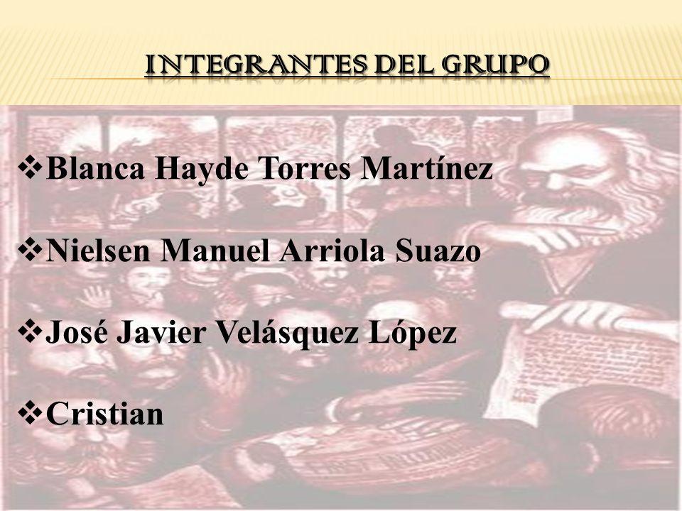 INTEGRANTES DEL GRUPO Blanca Hayde Torres Martínez. Nielsen Manuel Arriola Suazo. José Javier Velásquez López.