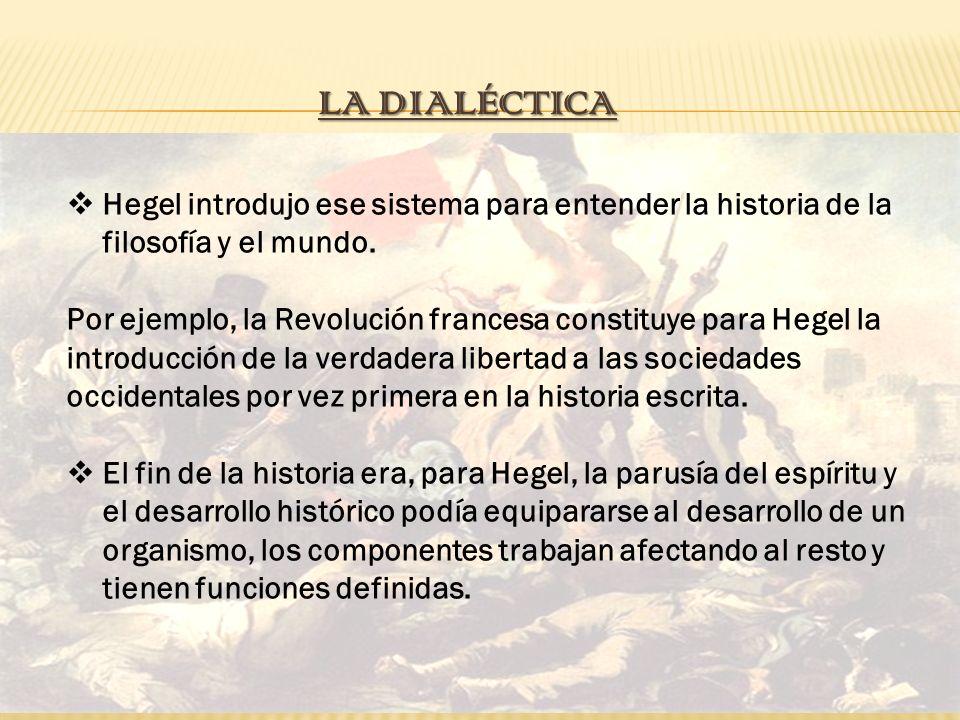 La dialéctica Hegel introdujo ese sistema para entender la historia de la filosofía y el mundo.