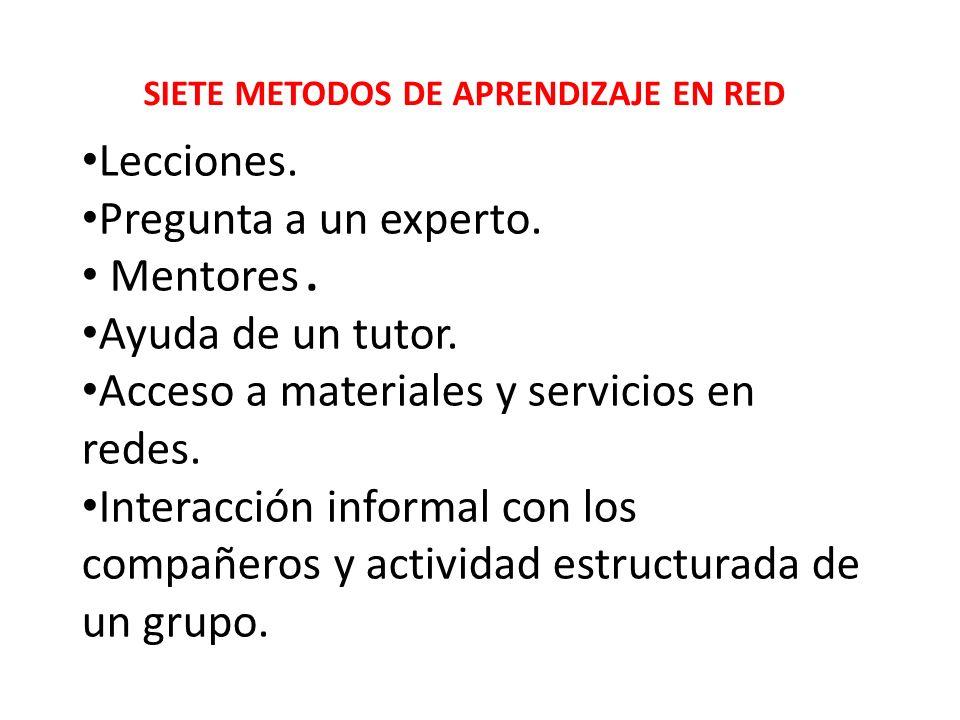 SIETE METODOS DE APRENDIZAJE EN RED