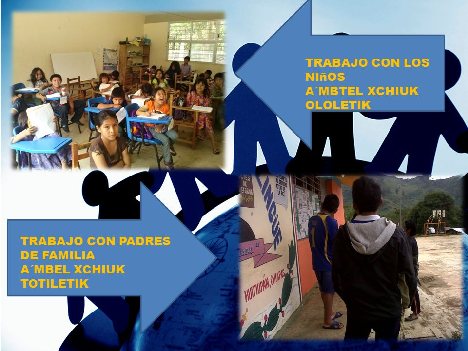TRABAJO CON LOS NIñOS A´MBTEL XCHIUK OLOLETIK TRABAJO CON PADRES DE FAMILIA A´MBEL XCHIUK TOTILETIK