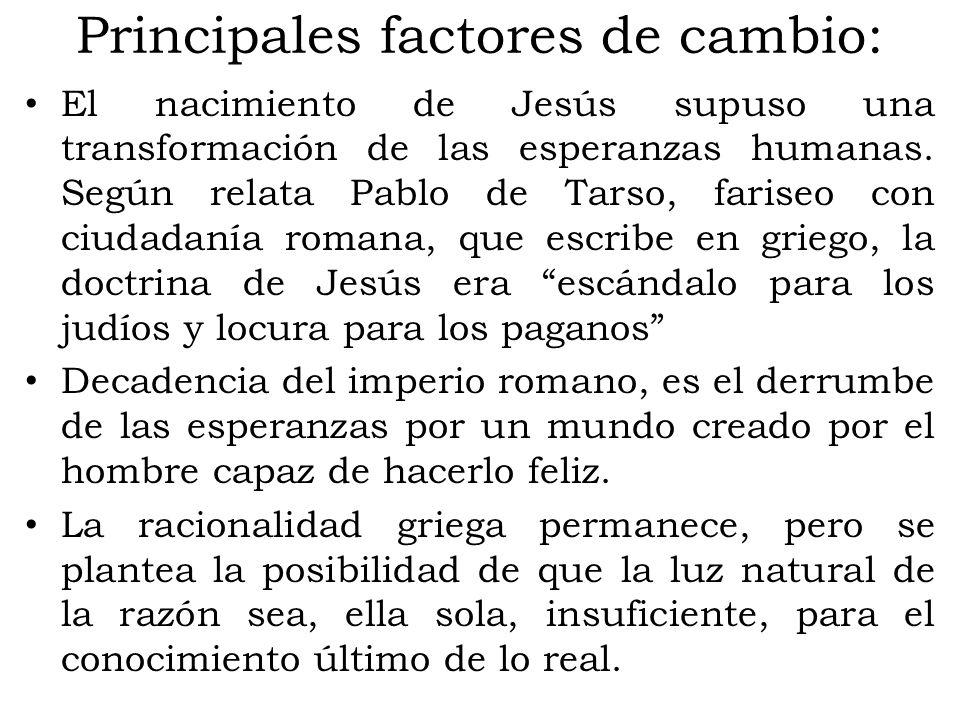 Principales factores de cambio: