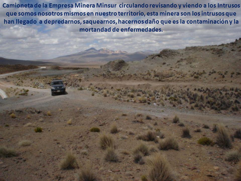 Camioneta de la Empresa Minera Minsur circulando revisando y viendo a los Intrusos que somos nosotros mismos en nuestro territorio, esta minera son los intrusos que han llegado a depredarnos, saquearnos, hacernos daño que es la contaminación y la mortandad de enfermedades.