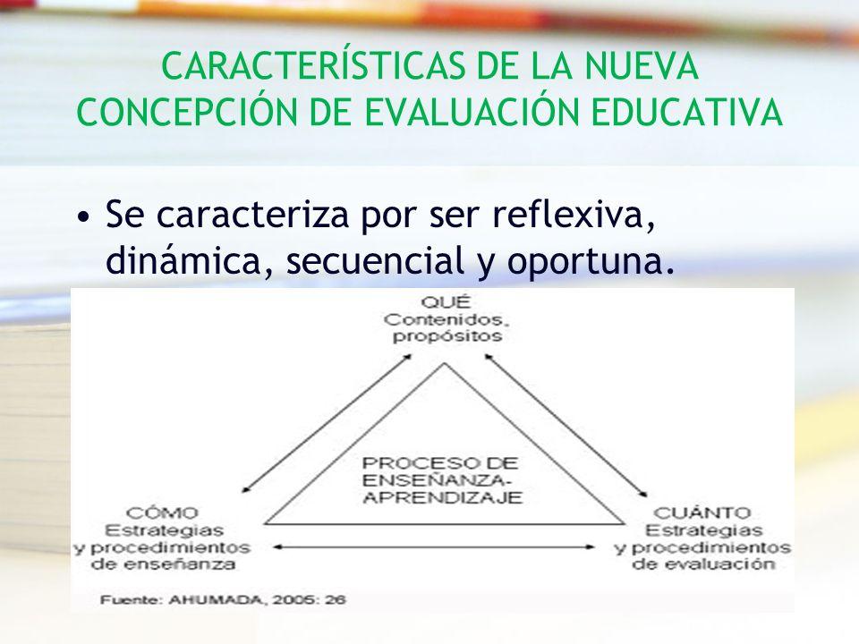 CARACTERÍSTICAS DE LA NUEVA CONCEPCIÓN DE EVALUACIÓN EDUCATIVA