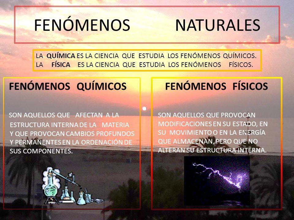 FENÓMENOS NATURALES FENÓMENOS QUÍMICOS SON AQUELLOS QUE AFECTAN A LA
