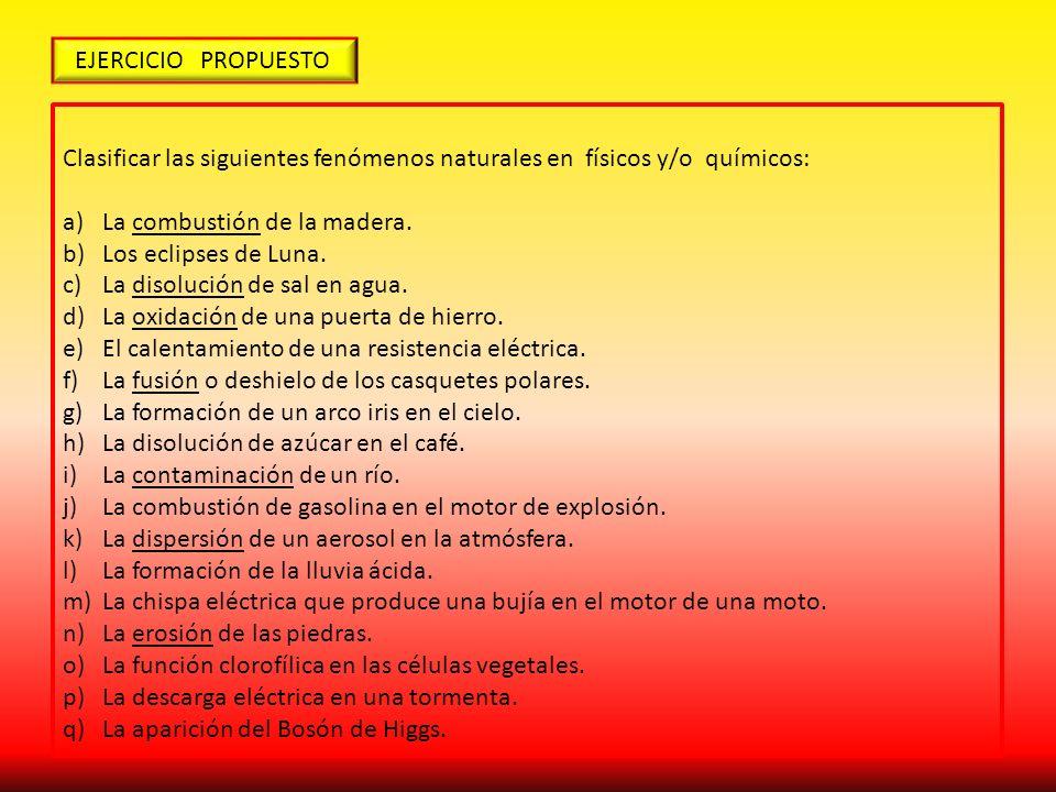EJERCICIO PROPUESTO Clasificar las siguientes fenómenos naturales en físicos y/o químicos: La combustión de la madera.