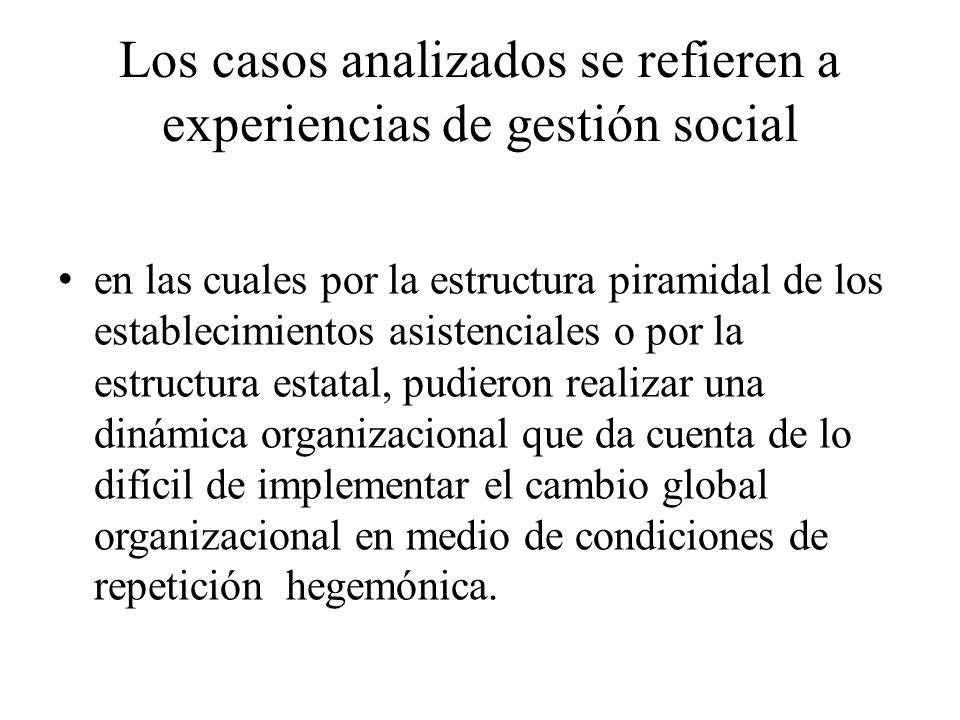 Los casos analizados se refieren a experiencias de gestión social