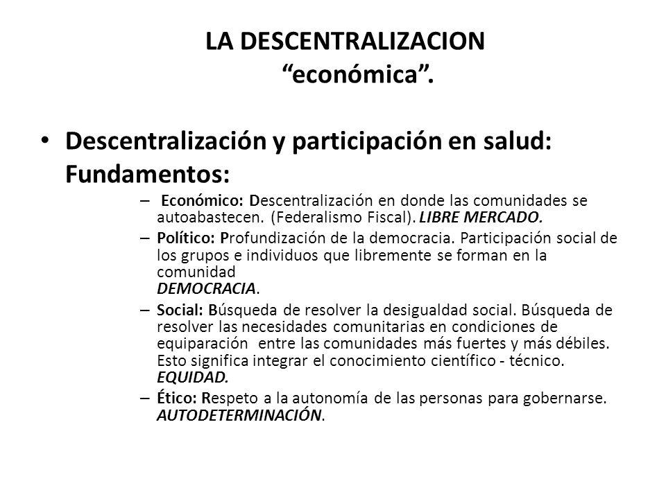 LA DESCENTRALIZACION económica .
