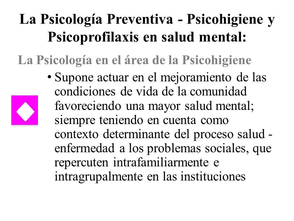 La Psicología Preventiva - Psicohigiene y Psicoprofilaxis en salud mental: