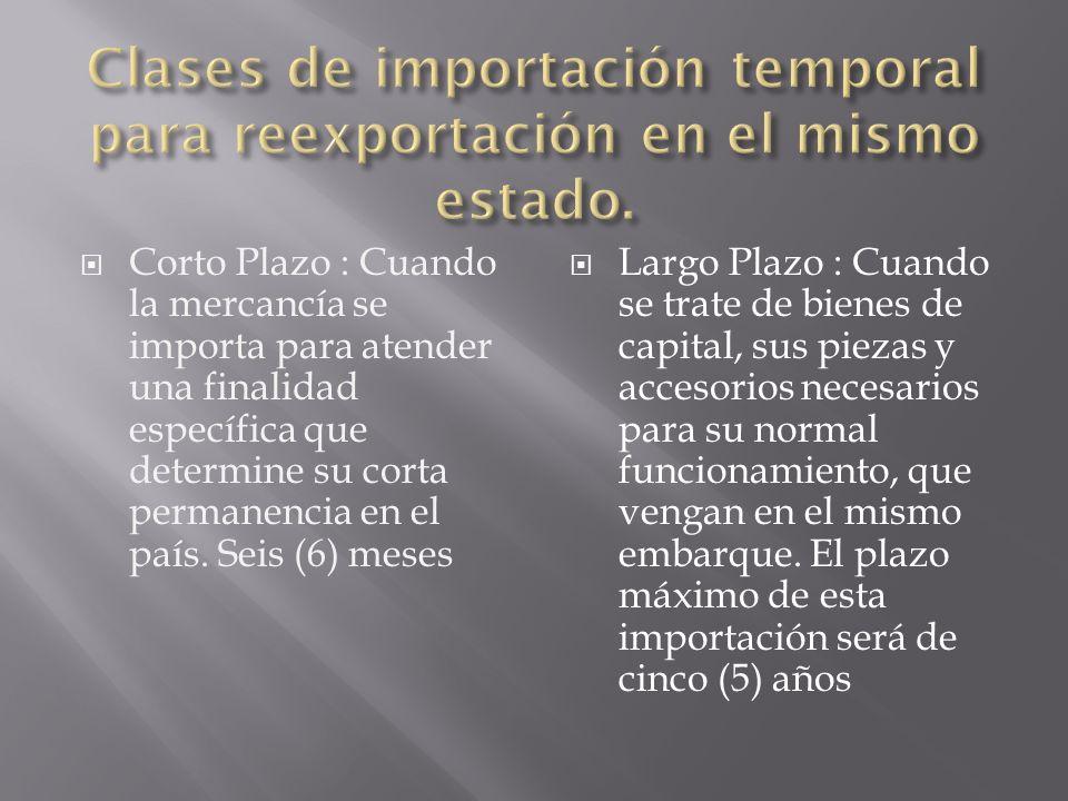 Clases de importación temporal para reexportación en el mismo estado.