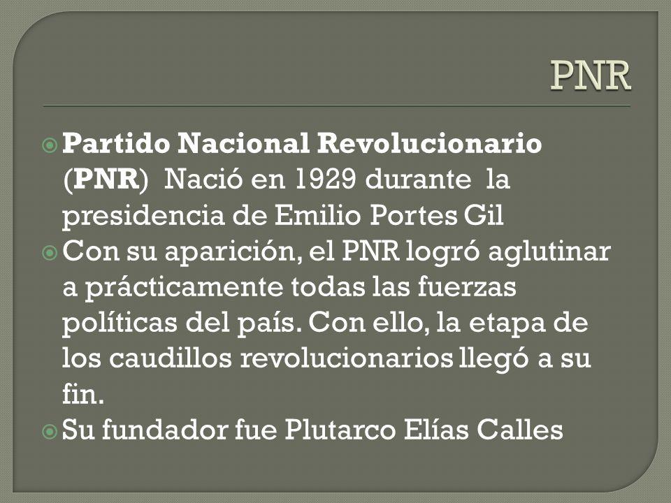 PNR Partido Nacional Revolucionario (PNR) Nació en 1929 durante la presidencia de Emilio Portes Gil.