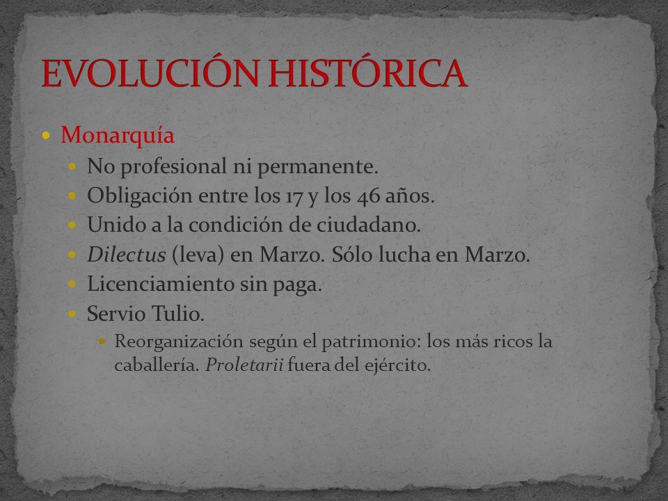 EVOLUCIÓN HISTÓRICA Monarquía No profesional ni permanente.