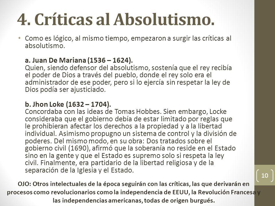 4. Críticas al Absolutismo.
