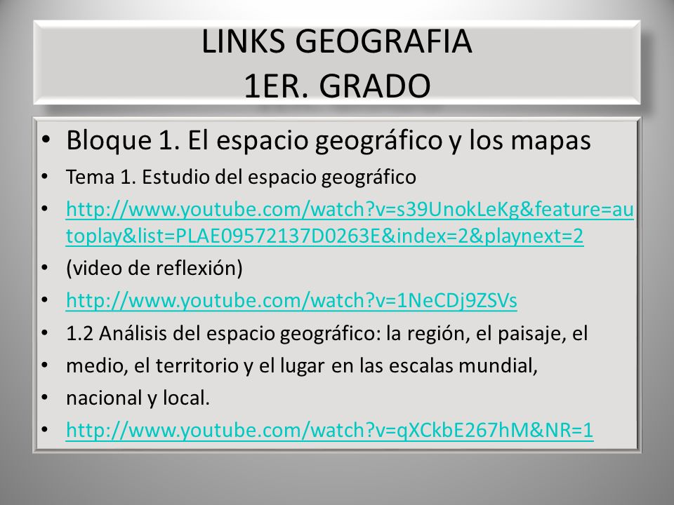 LINKS GEOGRAFIA 1ER. GRADO