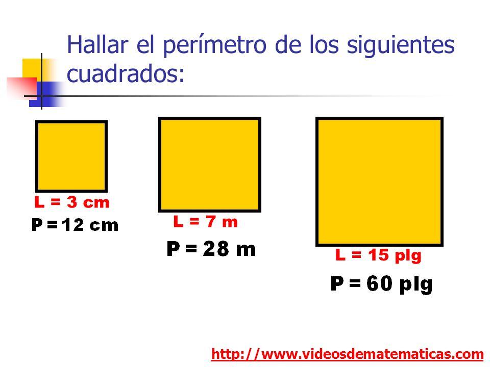 Hallar el perímetro de los siguientes cuadrados: