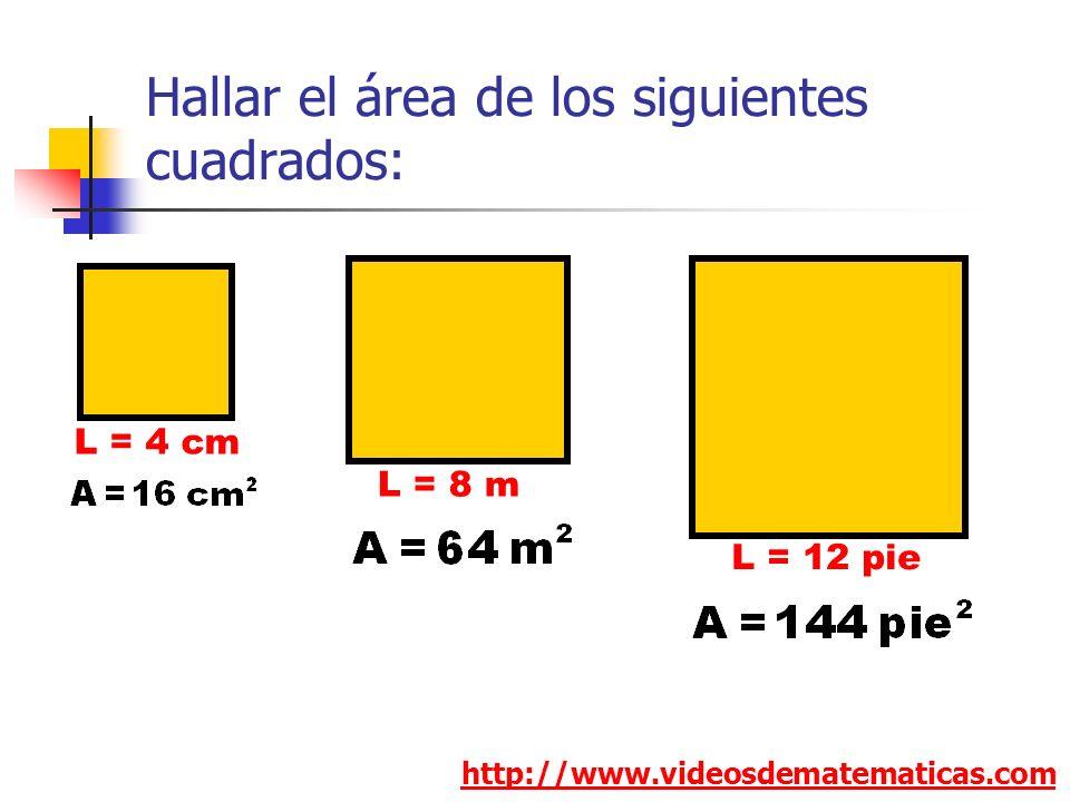 Hallar el área de los siguientes cuadrados: